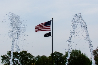Fountain framing flags