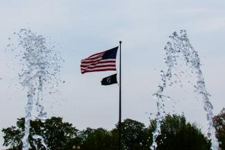 Fountain framing flags
