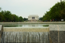 View across waterfall of Lincoln Memorial