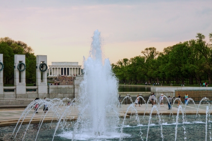 View across the Rainbow Pool toward the Lincoln Memorial