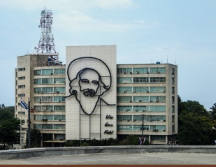 Likeness of Camilo Cienfuegos Gorriarán on the Ministry of Communications