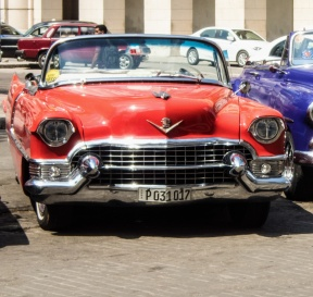 Front, red Cadillac