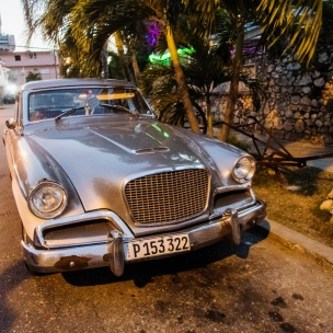 1950s Studebaker Hawk parked in front of La Fontana