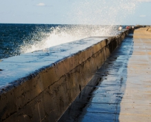 Waves crashing over the Malecón seawall