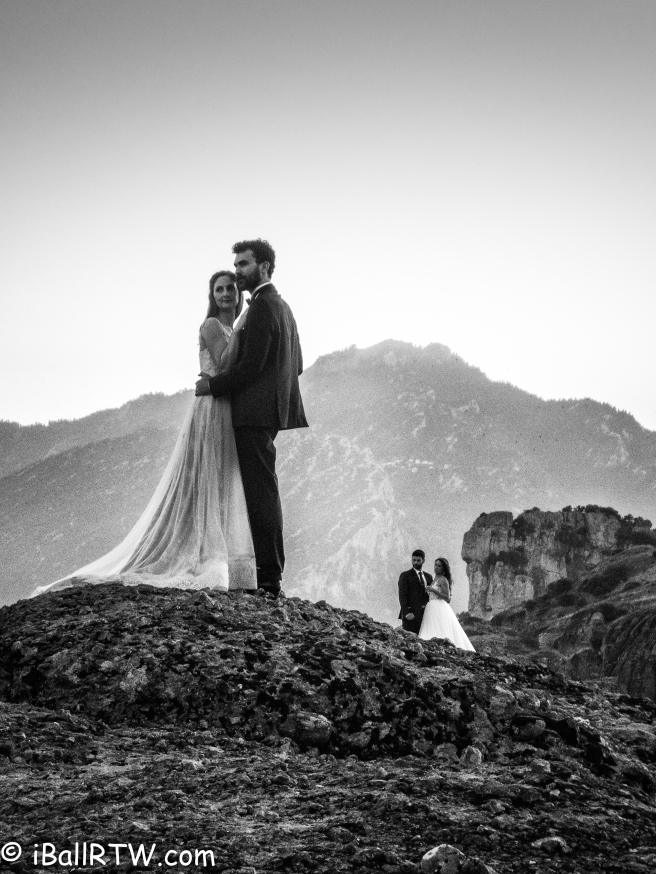 Wedding Couples Posing in Meteora Sunset