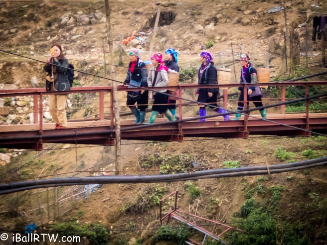 Hmong Souvenir Sellers on Lao Chai Bridge