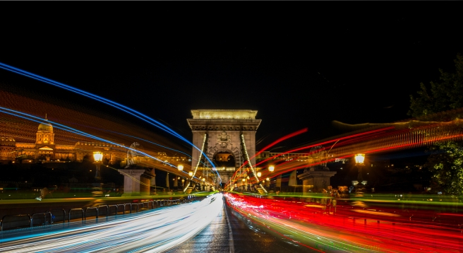 Light Trails at Chain Bridge
